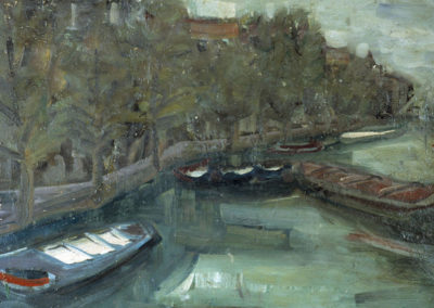 Rudolf Rothe: Claire, backside: canal with barges; ca. 1963 oil on plywood; 50x60 cm