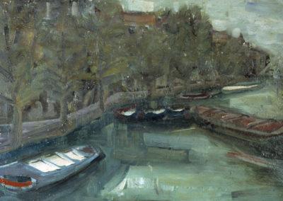 Rudolf Rothe: Claire, Rückseite: Gracht mit Kähnen; ca. 1963 Öl auf Sperrholz; 50x60 cm