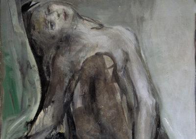 Rudolf Rothe: Claire mit geneigtem Kopf; 1965 Öl auf Stuhl-Leinwand; 114x100 cm