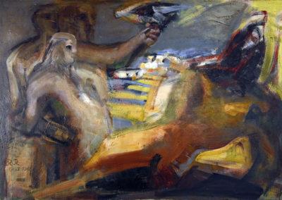 Rudolf Rothe: Die Treppen von Syros; 1963 - 65 Öl auf Leinwand; 125,5x180 cm