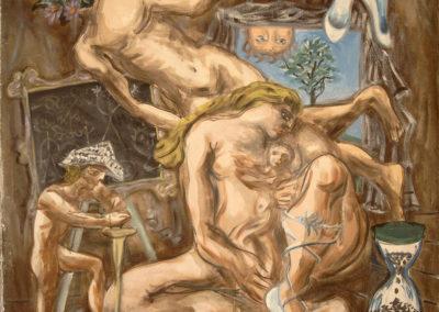 Rudolf Rothe: Familienszene; ca 1972 Öl auf Leinwand; 125x130 cm
