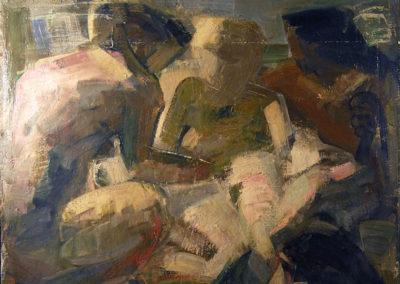Rudolf Rothe: Figurengruppe; 1962 Öl auf Sackleinen; 120x131 cm