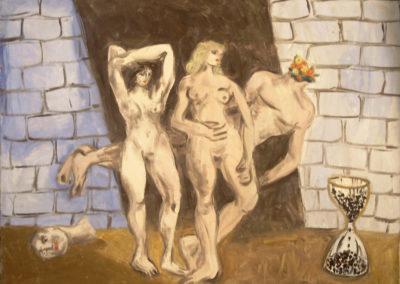 Rudolf Rothe: Figurengruppe mit Sanduhr; ca 1974 Öl auf Leinwand; 90x120 cm
