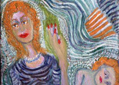 Rudolf Rothe: Frau mit Kind; ca 1990 Öl auf Leinwand; 51x59 cm