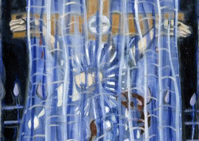 Rudolf Rothe: Gekreuzigter Harlekin; 1970 Öl auf Nessel; 120x80 cm
