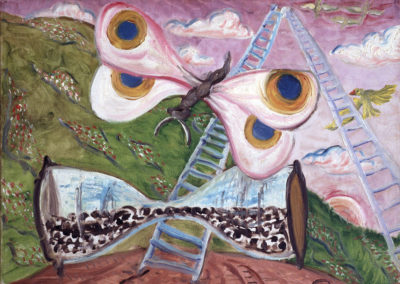 Rudolf Rothe: ladder to heaven; 1967 oil on canvas; 50x60 cm