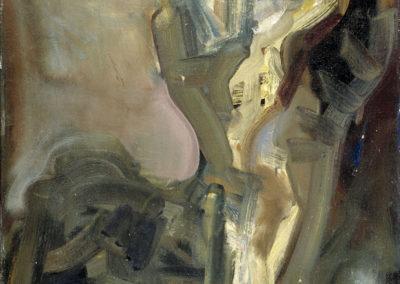 Rudolf Rothe: Kreuzigung ca 1966 Öl auf Stuhl-Leinwand; 95x75 cm