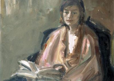 Rudolf Rothe: Lona mit 16 und Buch; 1963 Öl auf Hartfaser; 115x84 cm