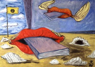 Rudolf Rothe: Mündige Bücher; 1976 Öl auf Leinwand; 70x100 cm