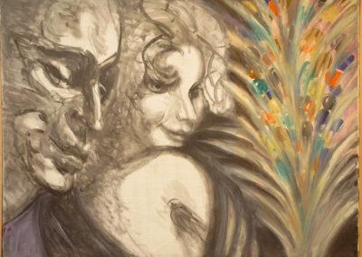 Rudolf Rothe: Paar; ca 1984 Öl auf Leinwand; 60x80 cm