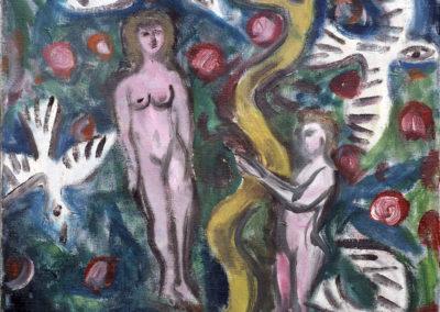 Rudolf Rothe: Paradiesszene; 1969 Öl auf Leinwand; 60x50 cm