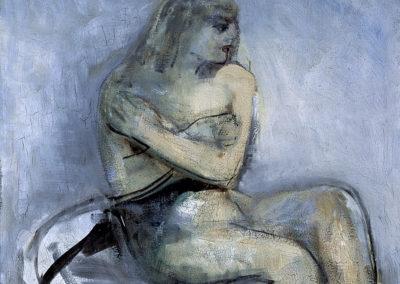 Rudolf Rothe : Sitzender Akt; ca 1966 Öl mit Asphaltbeimischung auf Leinwand; 120x100 cm