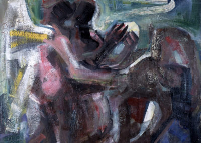 Rudolf Rothe: Verkündigung; ca 1966 Öl mit Asphalt-Lack auf Sackleinen; 110x120 cm