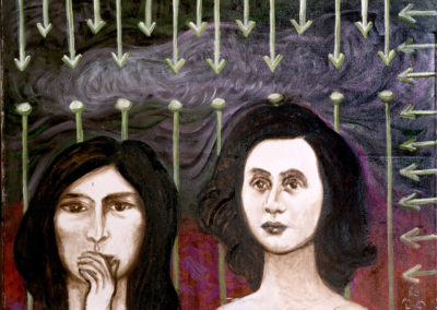 Rudolf Rothe: two women; 1986 oil on cotton; 60x80 cm
