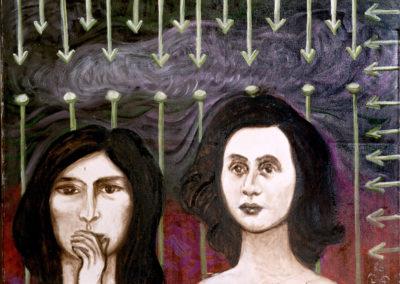 Rudolf Rothe: Zwei Frauen; 1986 Öl auf Baumwoll-Mischgewebe; 60x80 cm