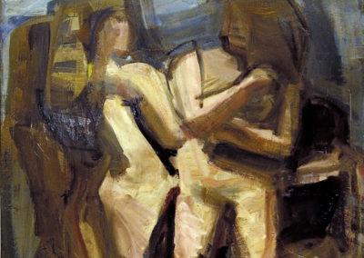 Rudolf Rothe: Zwei stehende Figuren; 1961 Öl auf Nessel; 150x130 cm