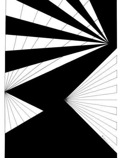 Ruth Klausch: Splitted figure; 30 x 42,5 cm; Artist black ink on cardboard, 1962
