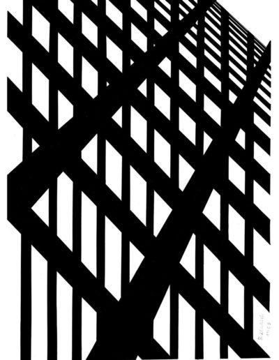 Ruth Klausch: Rails to nowhere; 32,4 x 44,5 cm; Artist black ink on cardboard, 1963