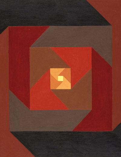 Ruth Klausch: Square Composition Red to Brown; 62 x 62 cm; Oil on chipboard, 1973. beruhigende Ergänzung zu Drei rote Würfelgruppen in Sechsecken