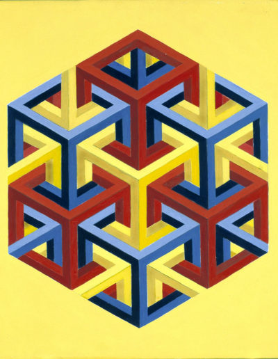 Ruth Klausch: Seven Open Cubes in One Hexagon; 50 x 60 cm; Oil on canvas, 1978.
