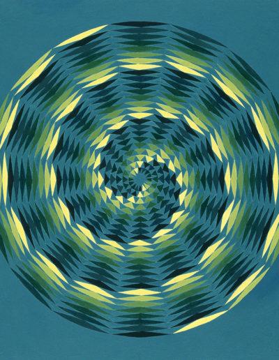 Ruth Klausch: Spirals in Eight Shades; 50 x 60 cm; Oil on chipboard, 1976
