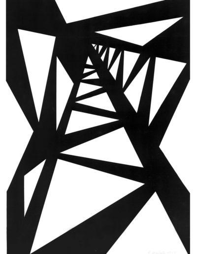 Ruth Klausch: Steel tower ; 30 x 42 cm; Artist black ink on cardboard, 1963