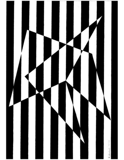 Ruth Klausch: Streifenstern; 30 x 42 cm; Siebdruck auf Karton, 1962