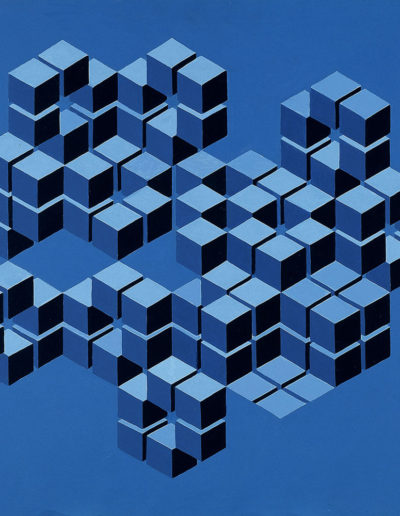 Ruth Klausch: Illusion, Blue Cubes in Hexagons; 65 x 65 cm; Oil on chipboard, 1973